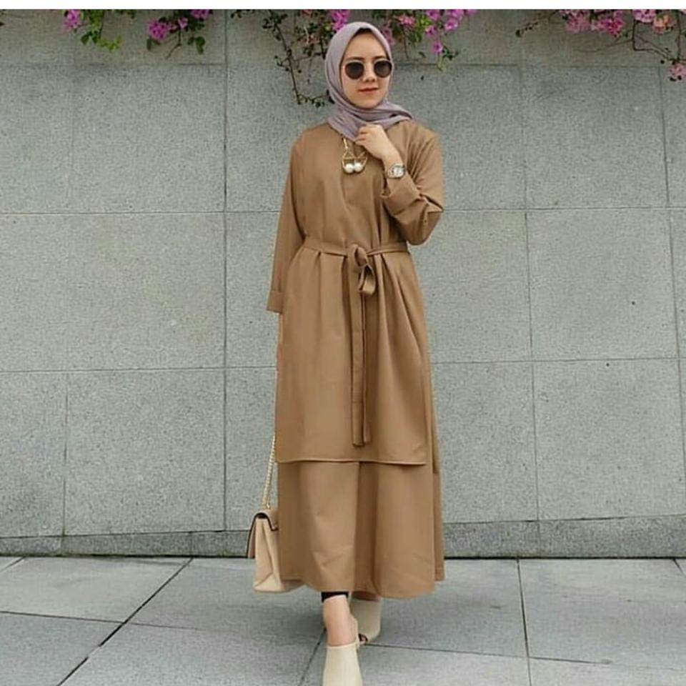 Ria_Store MC229 Carey Tunik Mocca // Busana Muslim Wanita MC229 Carey Tunik Mocca // Maxi Dress / Dress Maxi Tunik / Maxi Muslim / Dress Muslim / Busana Muslim / Baju Muslim / Hijab Fashion / Hijab Style - Hight Quality