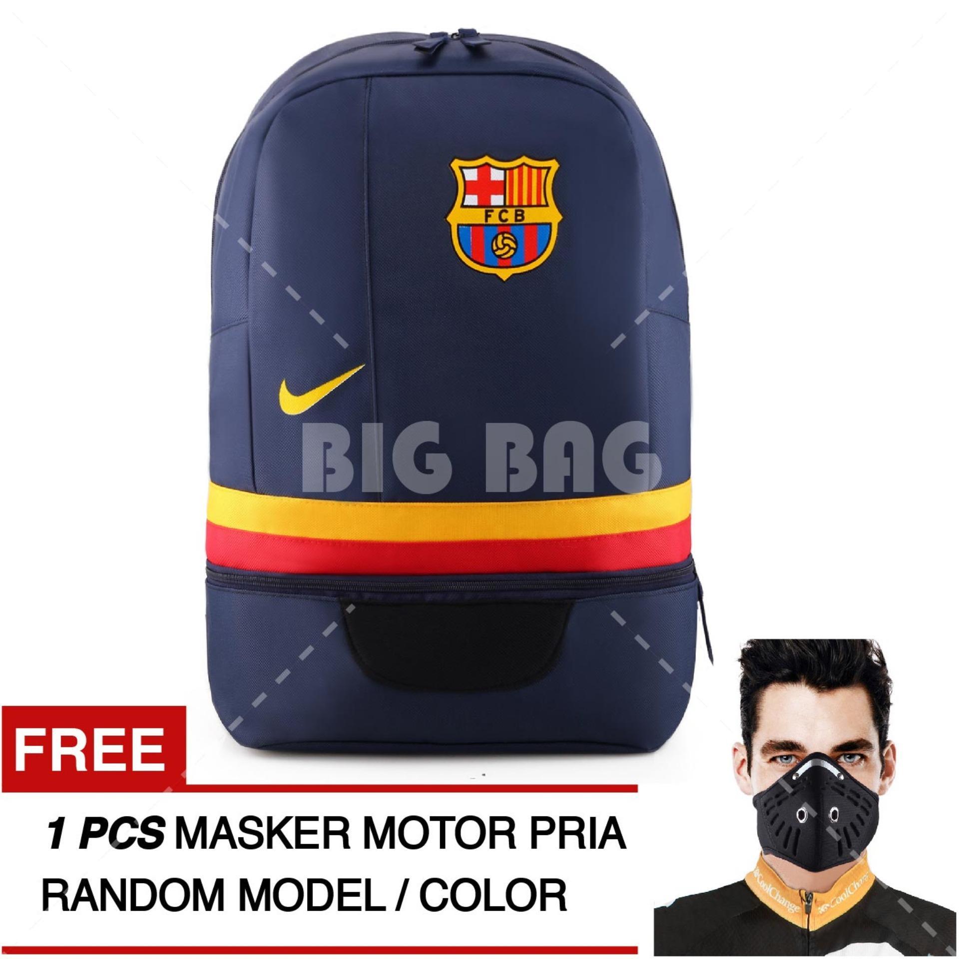 Tas Ransel Bola Pria Nike FC Barcelona Laptop Backpack Men Soccer Editions - Navy + Raincover + FREE Masker Motor Pria