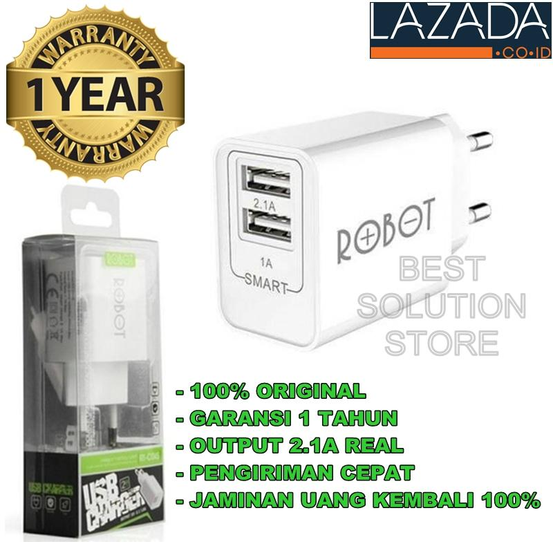 Vivan ROBOT Power Adapter RT-C04S Dual USB Ports Charger Adapter Bergaransi Resmi - Putih