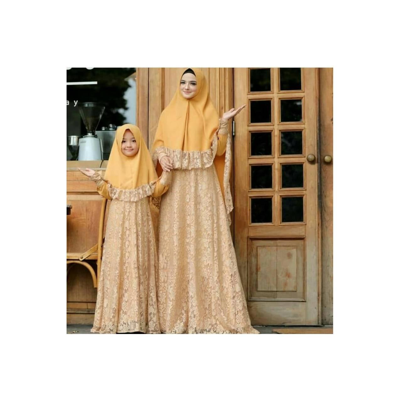 baju Couple gamis syari murah / maxi dress ibu dan anak naura gold