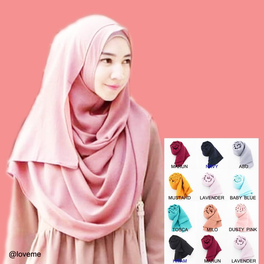 Loveme Pashmina Instan Hijab Instan Pastan Jilbab Instan Kerudung Pashmina Polos 1 Lubang