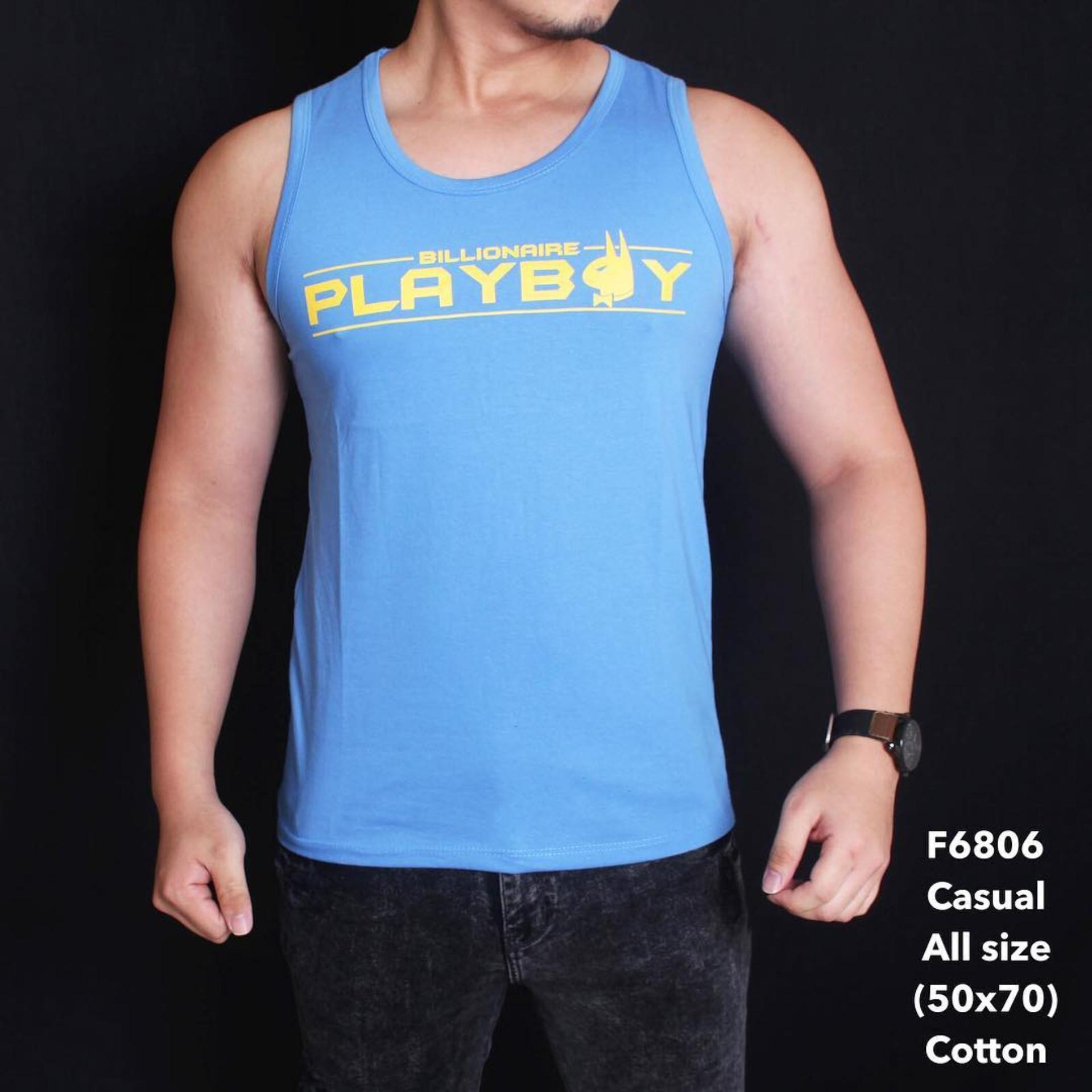 Singlet Tanktop Pria Playboy Light Blue    F6806