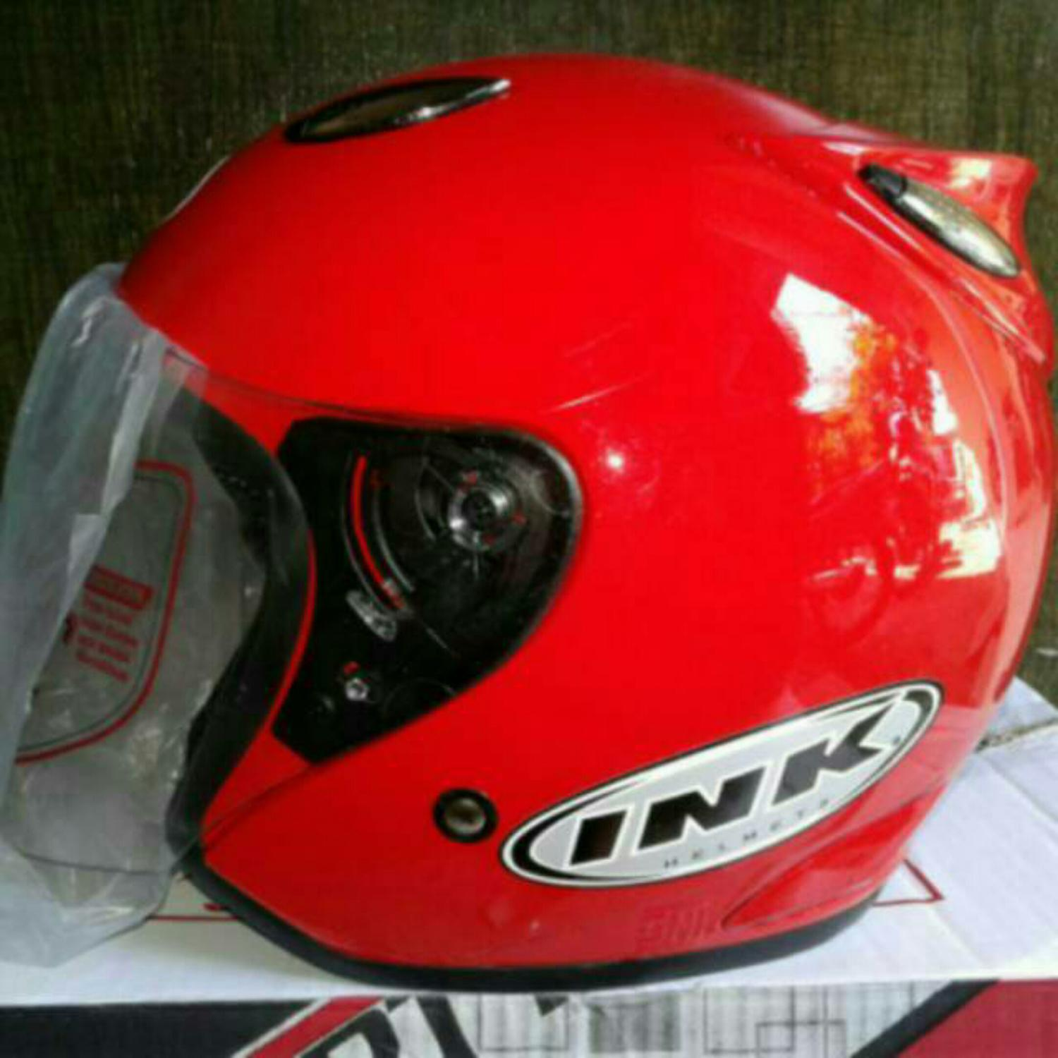 Helm basic ink Centro warna Merah Fire Red