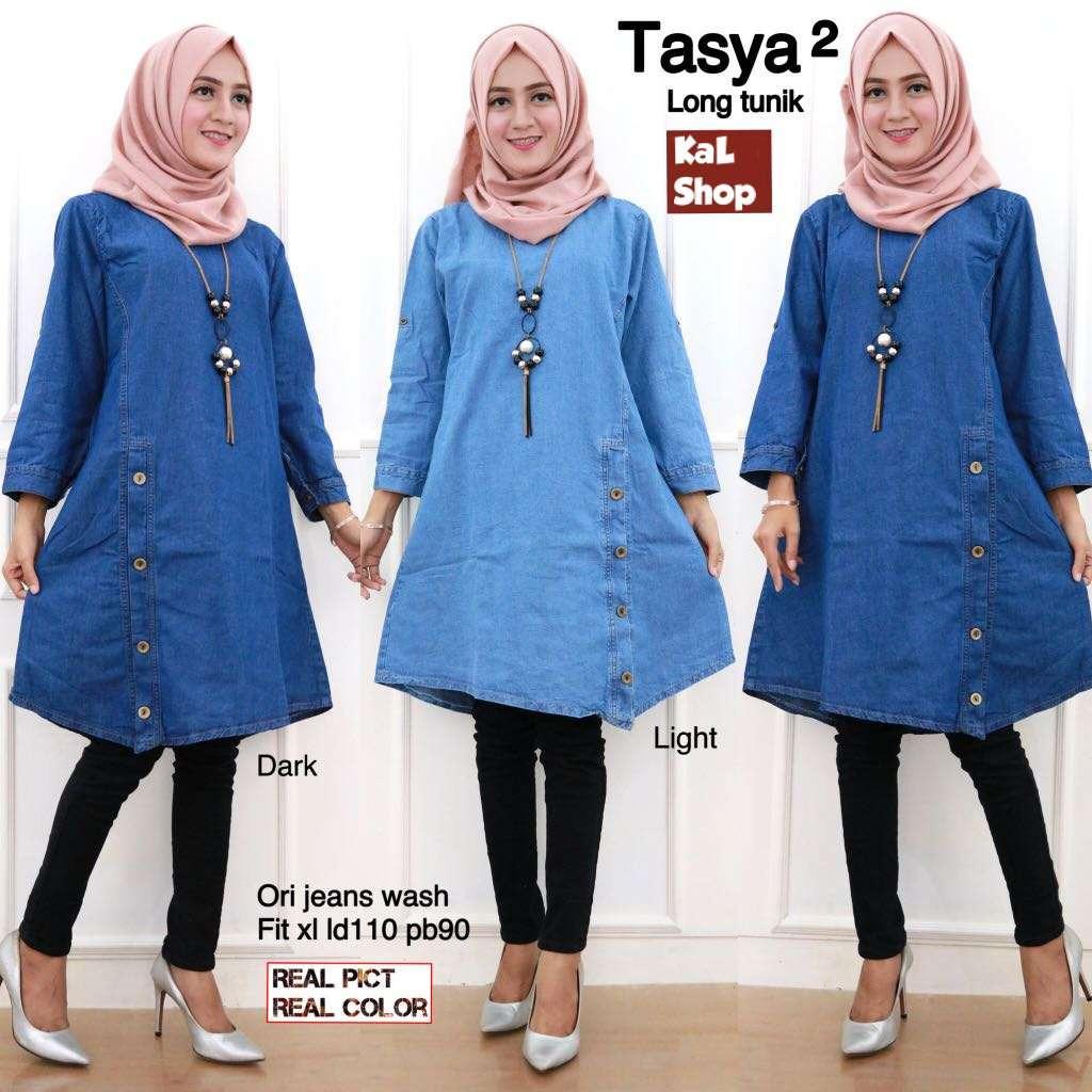 Tasya Long Tunik - Blouse jeans - Atasan Wanita - KaLShop