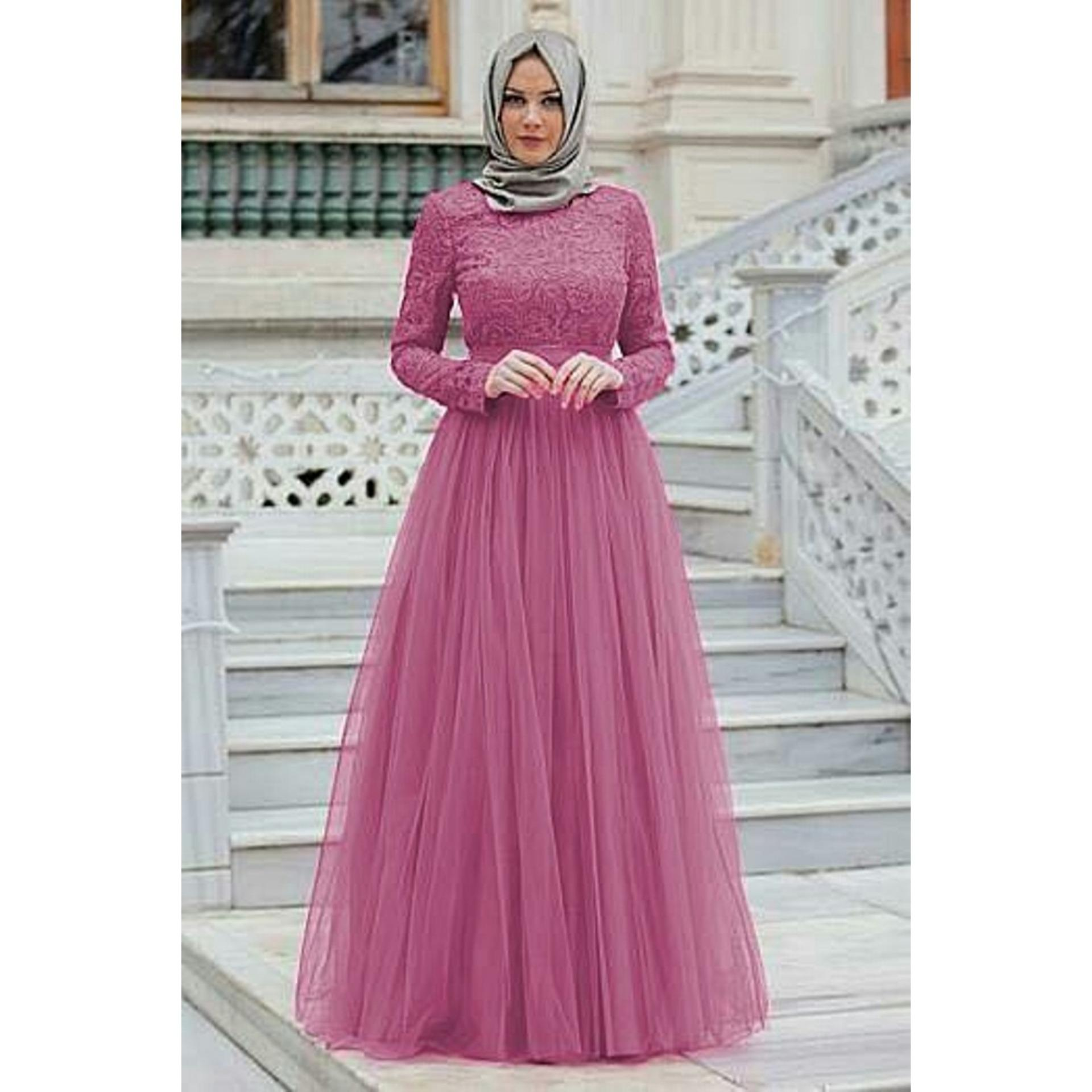 DIONISIA Almaera Gamis Maxi Dress Muslim Wanita Gamis Pesta Brukat Tile  Lengan Panjang 021a790eab