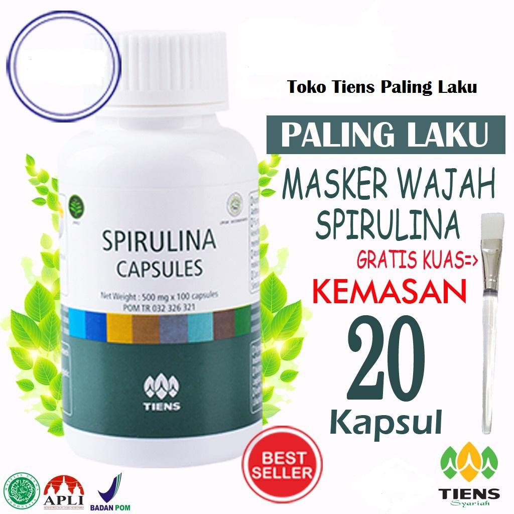 Tiens Spirulina Masker Wajah Alami no 1 di LAZADA PROMO Gratis ( Kuas Cantik) Paket 20 capsul