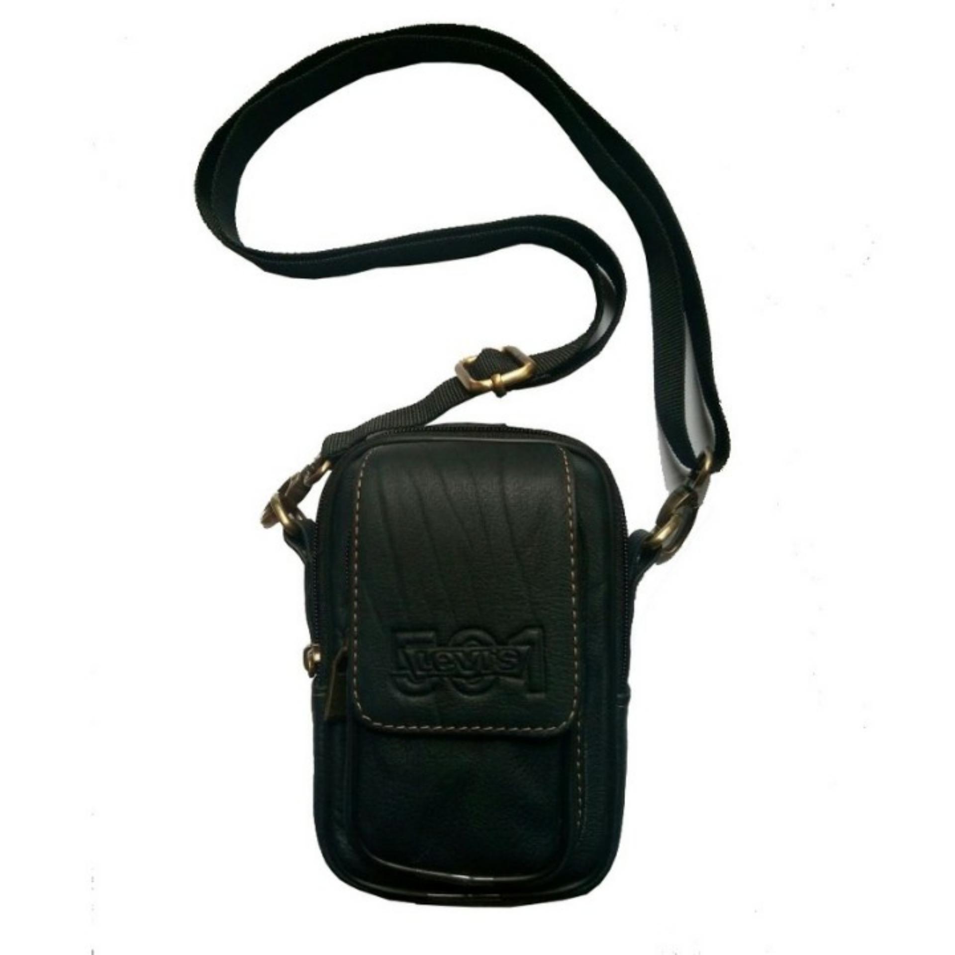 Tas Pinggang / Slempang 100% Kulit asli Waist Bag Dompet HP Pria - Hitam