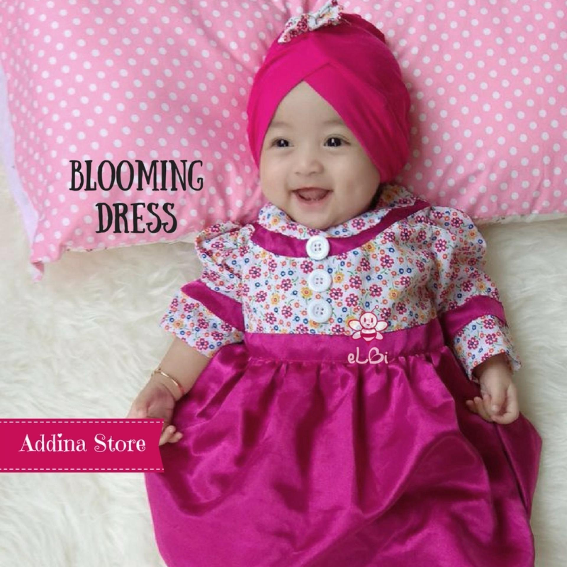 Elbi Blooming Dress dengan Turban / Baju Bayi / Baju Bayi Perempuan / Baju Bayi Cewek / Baju Bayi Muslim / Baju Bayi Lucu / Gaun Bayi / Addina Store