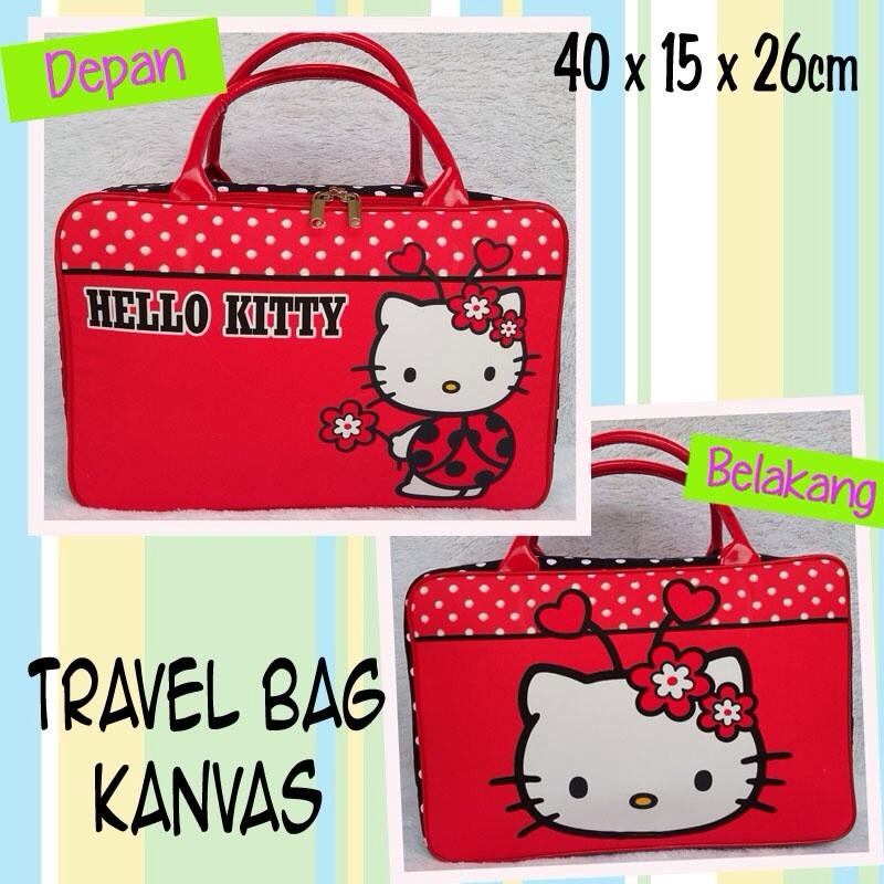 Tas Travel Bag Koper Kanvas Renang Kotak Anak Hello Kitty