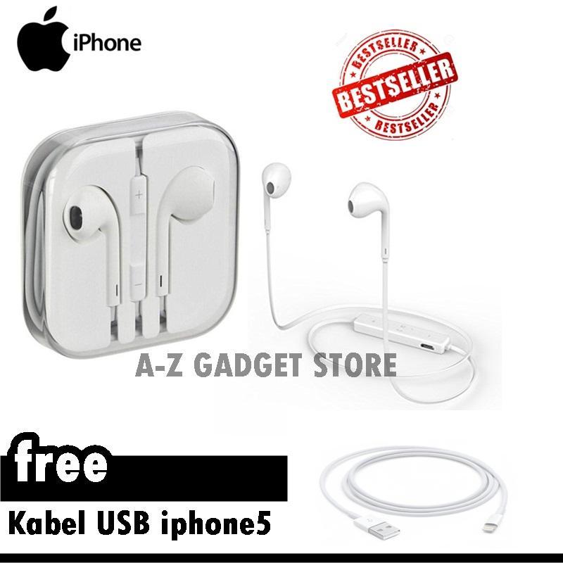 Apple Earphone / Headset / Handsfree For iPhone 4/5/6 White fREE Kabel Data iphone 5 - Original