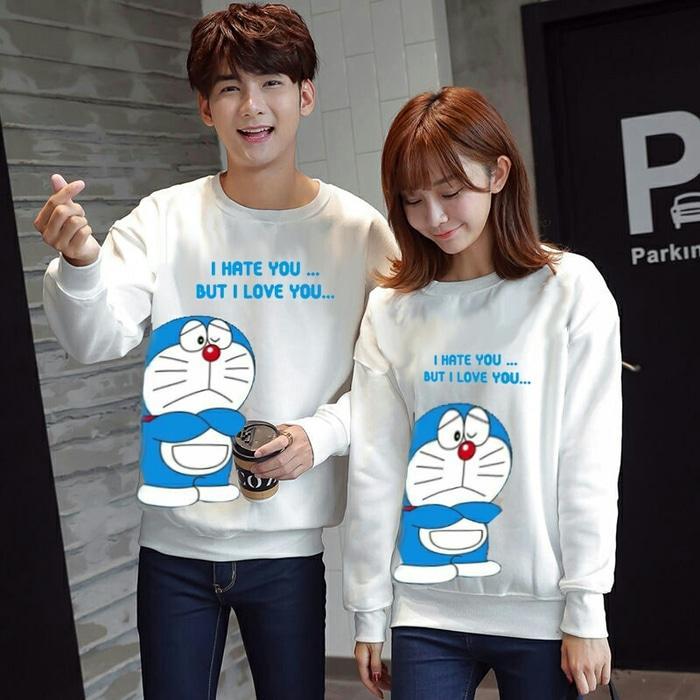 Sweater Baju Couple Doraemon Love Hate Pasangan Kompak Putih Keren
