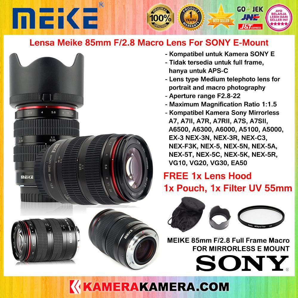 Lensa MEIKE 85mm f/2.8 Macro Lens For Sony Mirrorless E Mount Full Frame + Filter UV 55mm