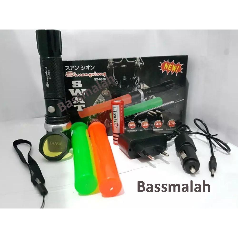 Police Senter Swat 99000w - Double 2 Cone Lalin - Flashlight Sinar Cahaya Led Putih - Zoom Putar - Batere Cas 18650 - Flash Light