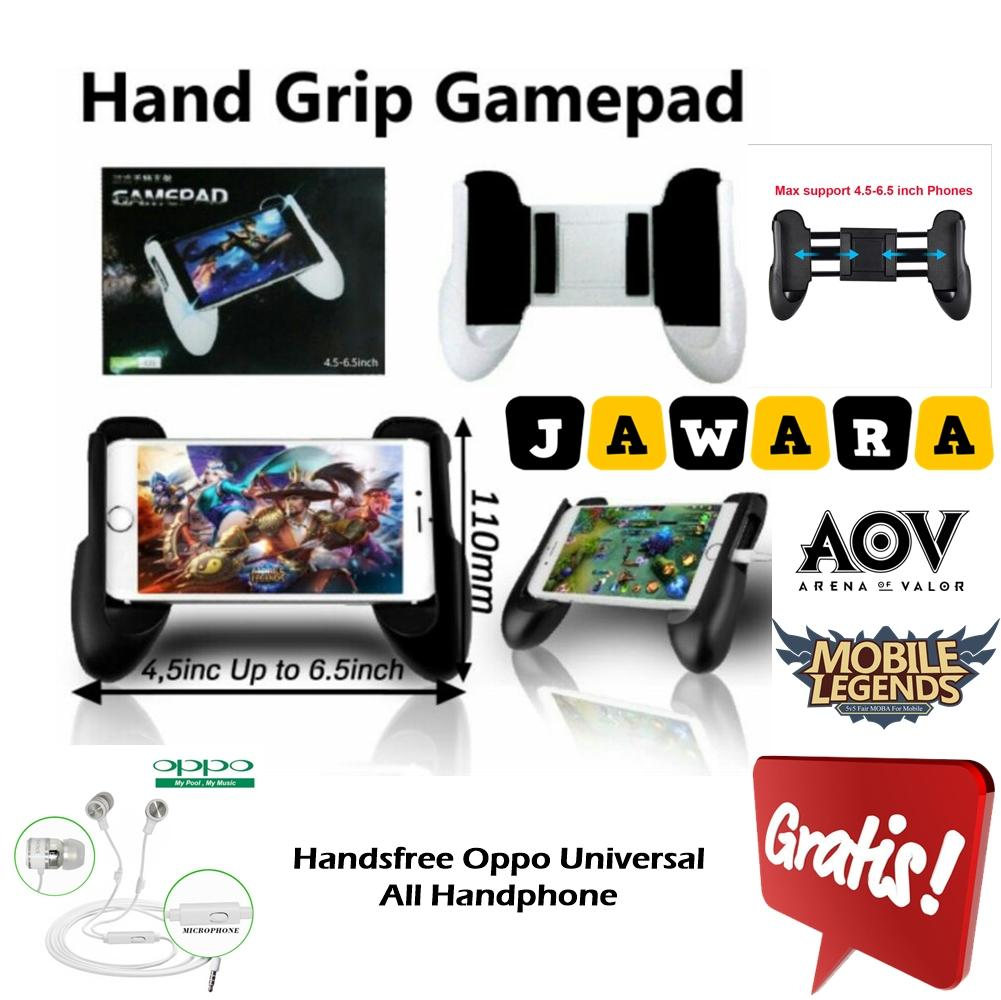 GamePad Hand Grip Mobile Game Pad Mobile Joystick For Mobile Legend AOV PUBG + GRATIS Handsfree Oppo Universal All Handphone