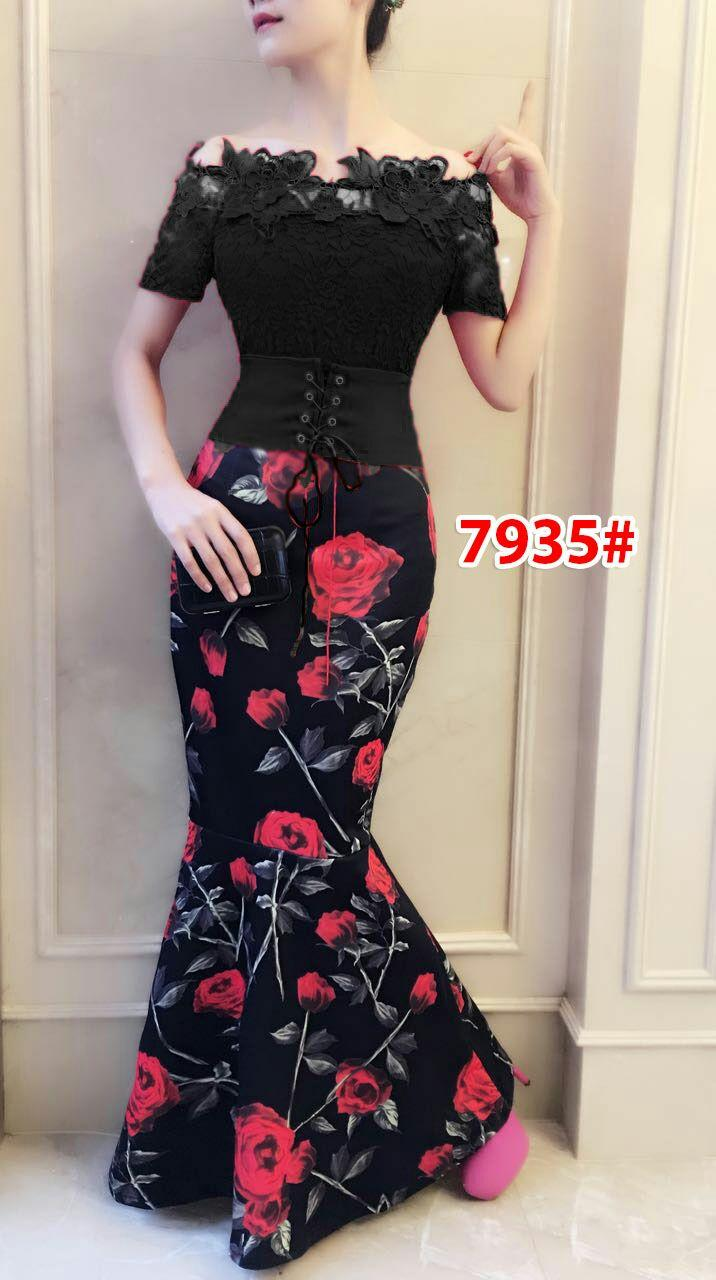 7935a# baju pesta import  / gaun pesta import / baju pesta brokat / longdress fashion import / gaunpanjang scuba