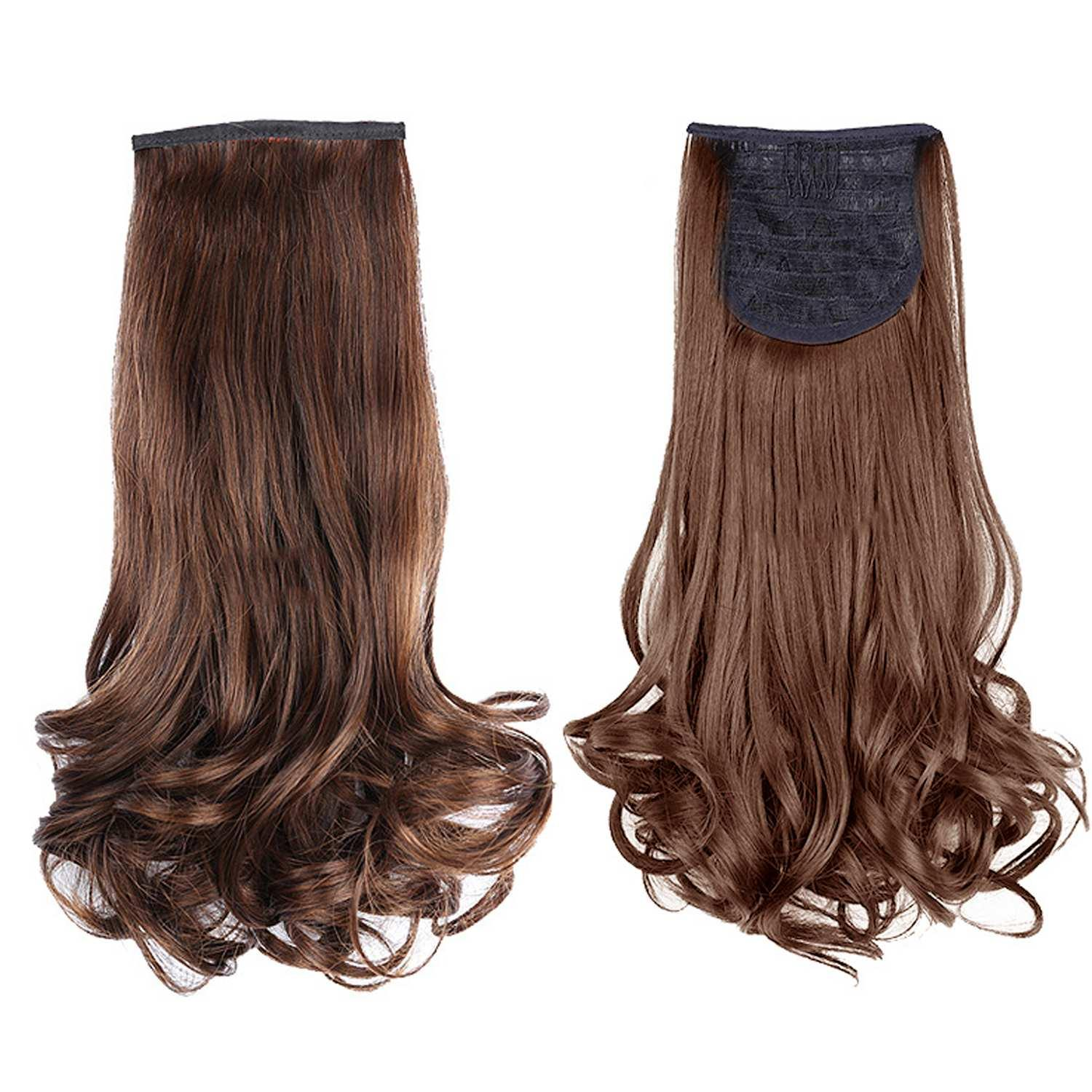 Women Clip in Curly Wave Hair Extensions Wigs Ponytail Hairpieces 48cm Brown
