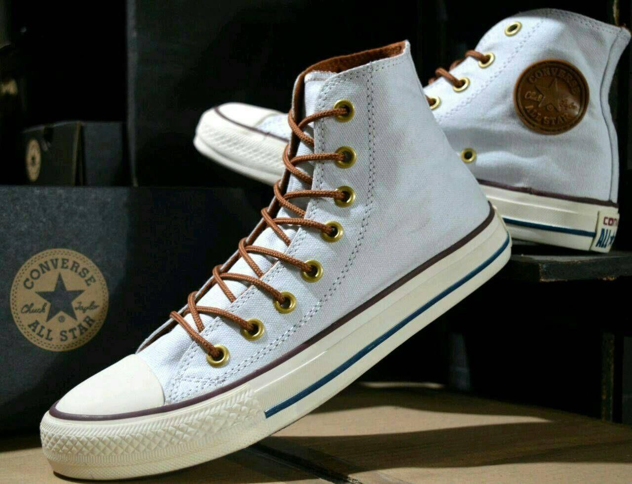 Sepatu Converse Tali Gaya Pria terkini Slip On Pantofel Boots Putih