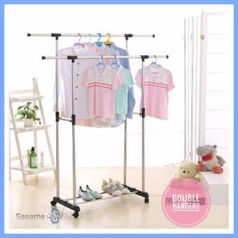 Harga preferensial Stand Hanger Double 2/ 2 tiang jemuran stainless Sisi Lemari Rak Gantungan Baju Tiang Jemuran terbaik murah - Hanya Rp113.985