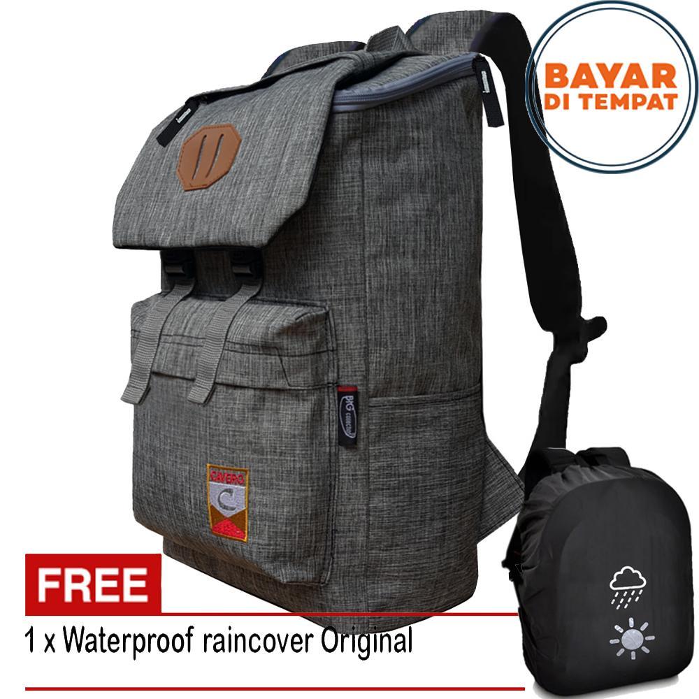 Tas Ransel Korea Cavero Import Design 17 Inchi 5015M-17 Polyester Canvas - Grey +