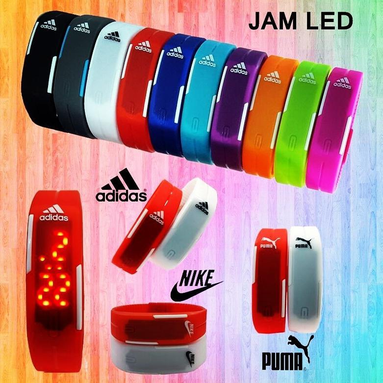 LED Jam Tangan Digital Gelang Rubber Arlogi Watch Pria Wanita Sporty Gaul Olahraga Nike Adidas Puma