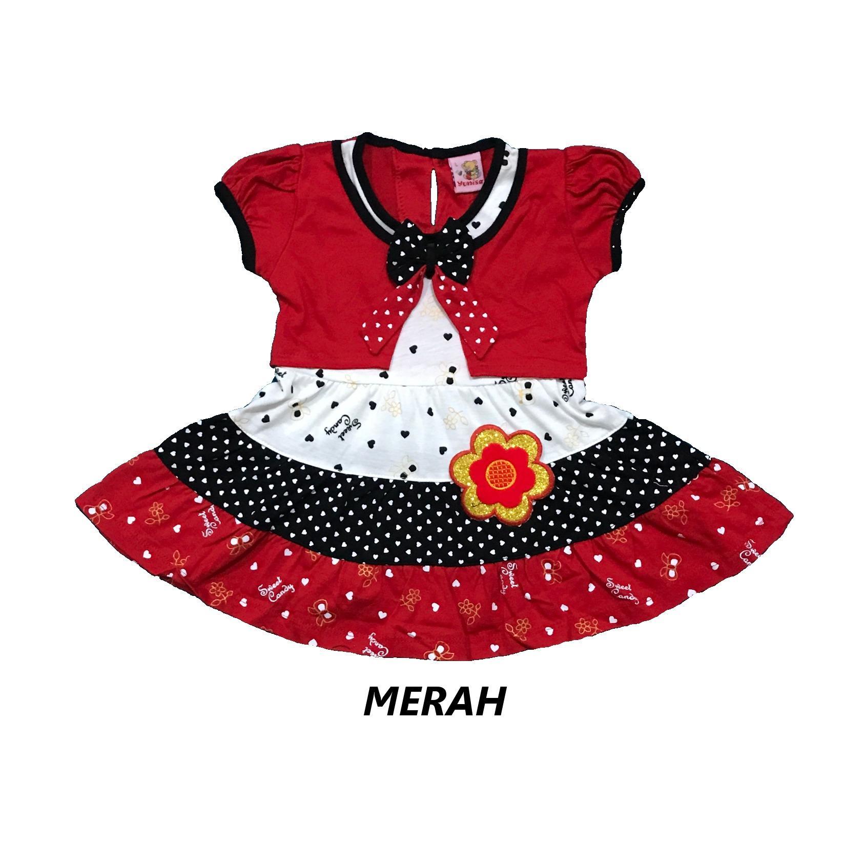 BAYIe - Setelan Baju Bayi Dress Perempuan motif BUNGA YUNISA / Pakaian anak cewek umur 1 - 2 tahun