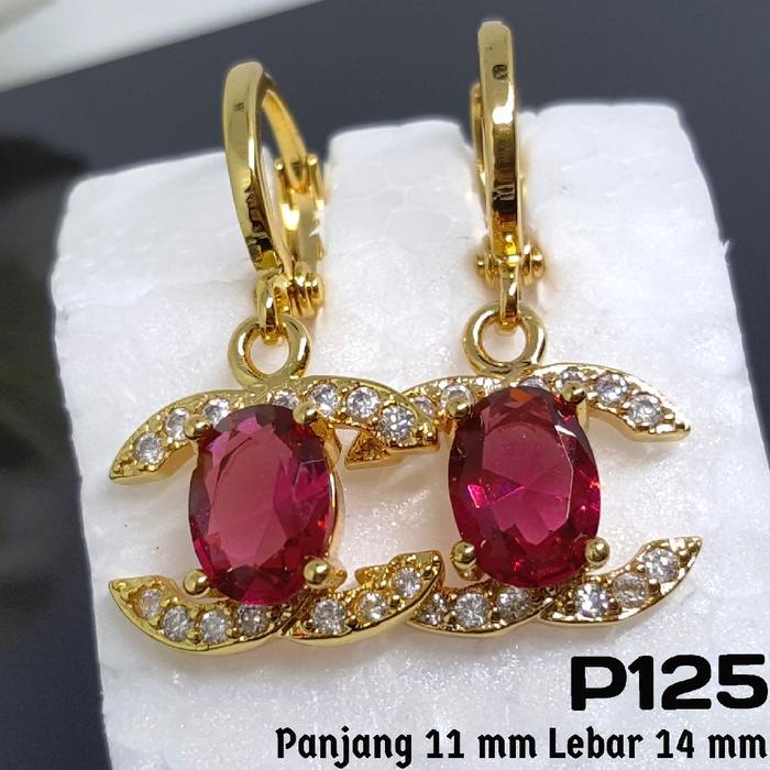P125 Anting Chanel Ruby Merah -Set Perhiasan Imitasi Xuping Lapis Emas