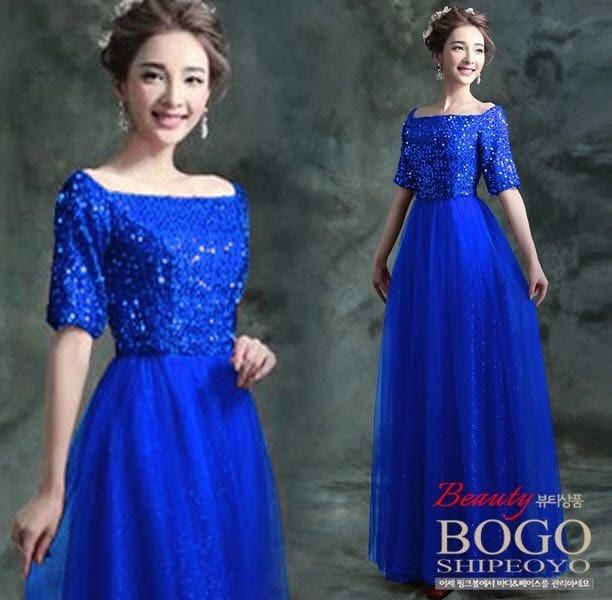 [Longdress dyana blue FT] dress wanita spandek payet biru