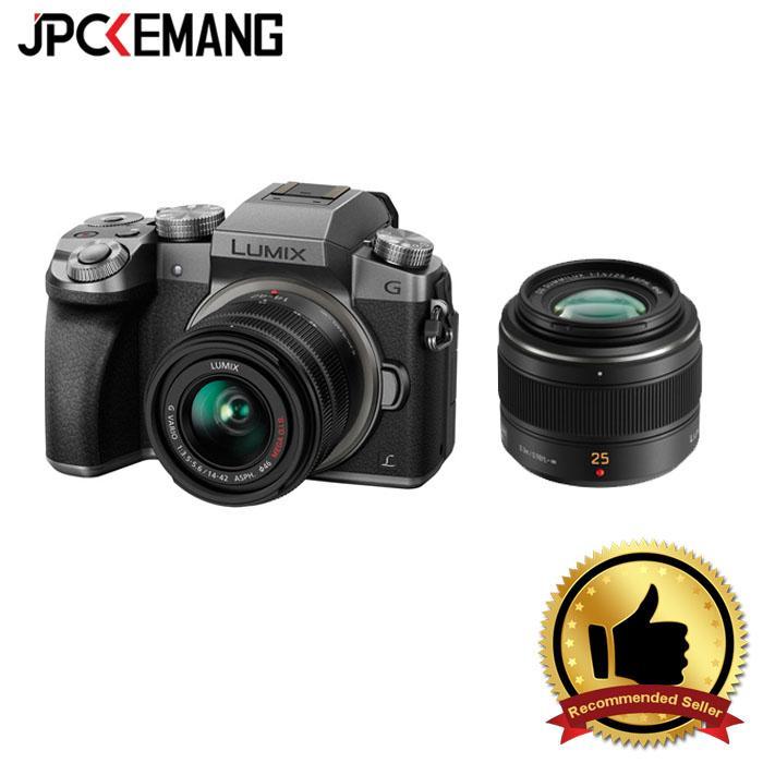 Panasonic Lumix DMC-G7 Kit 14-42mm f/3.5-5.6 II Silver with Panasonic 25mm f/1.4 Leica Summilux jpckemang