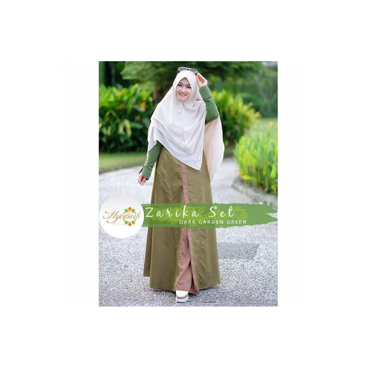 Zarika set Hijabiah original / gamis syari hijau olive elegan simpel