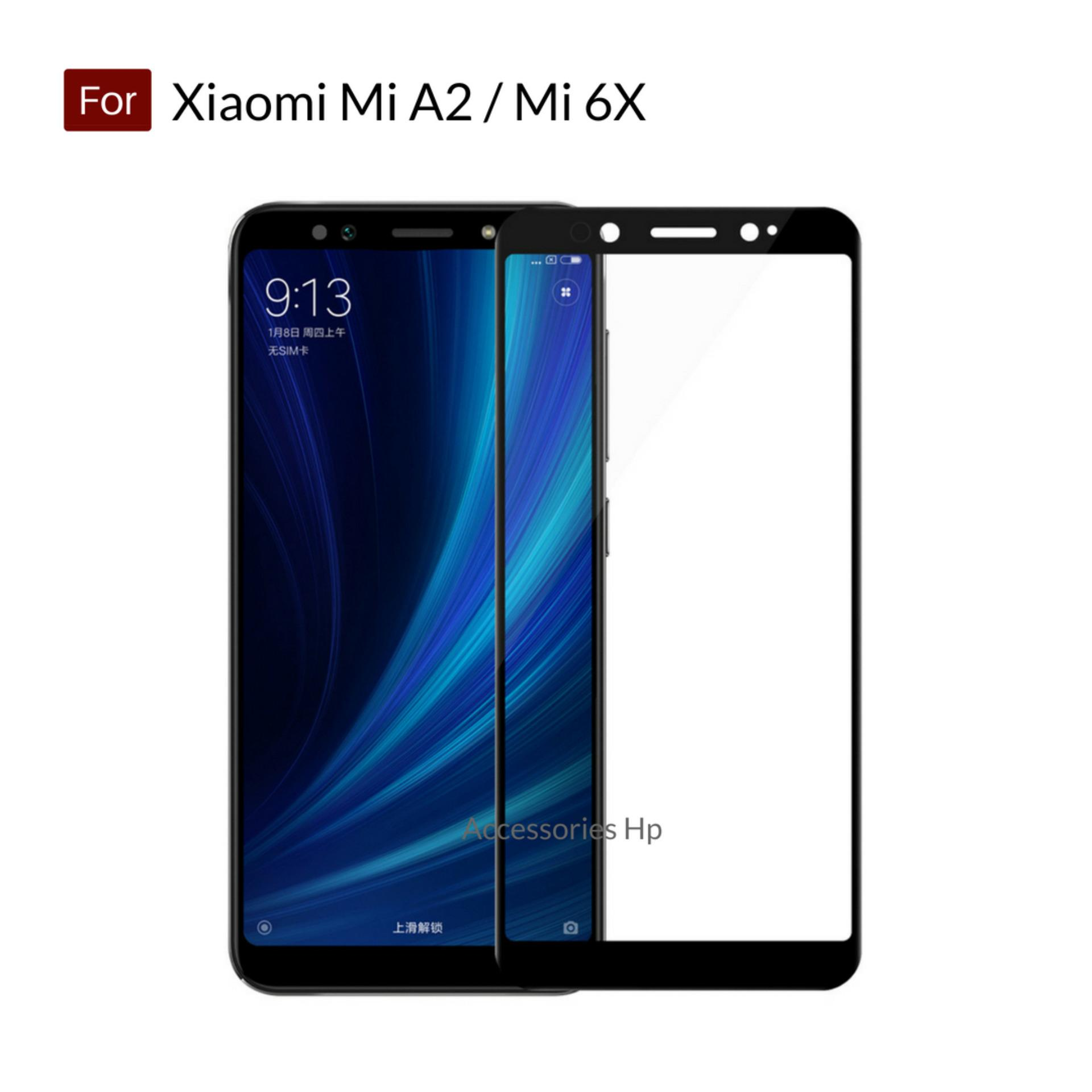 Accessories Hp Full Cover Tempered Glass Warna Screen Protector for Xiaomi Mi A2 / Mi 6X - Black