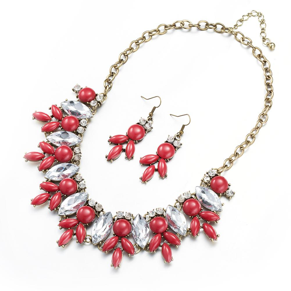 Jual panas berlebihan perhiasan merek grosir fashion paduan anting kalung set ekspor FSS003-C FSS003