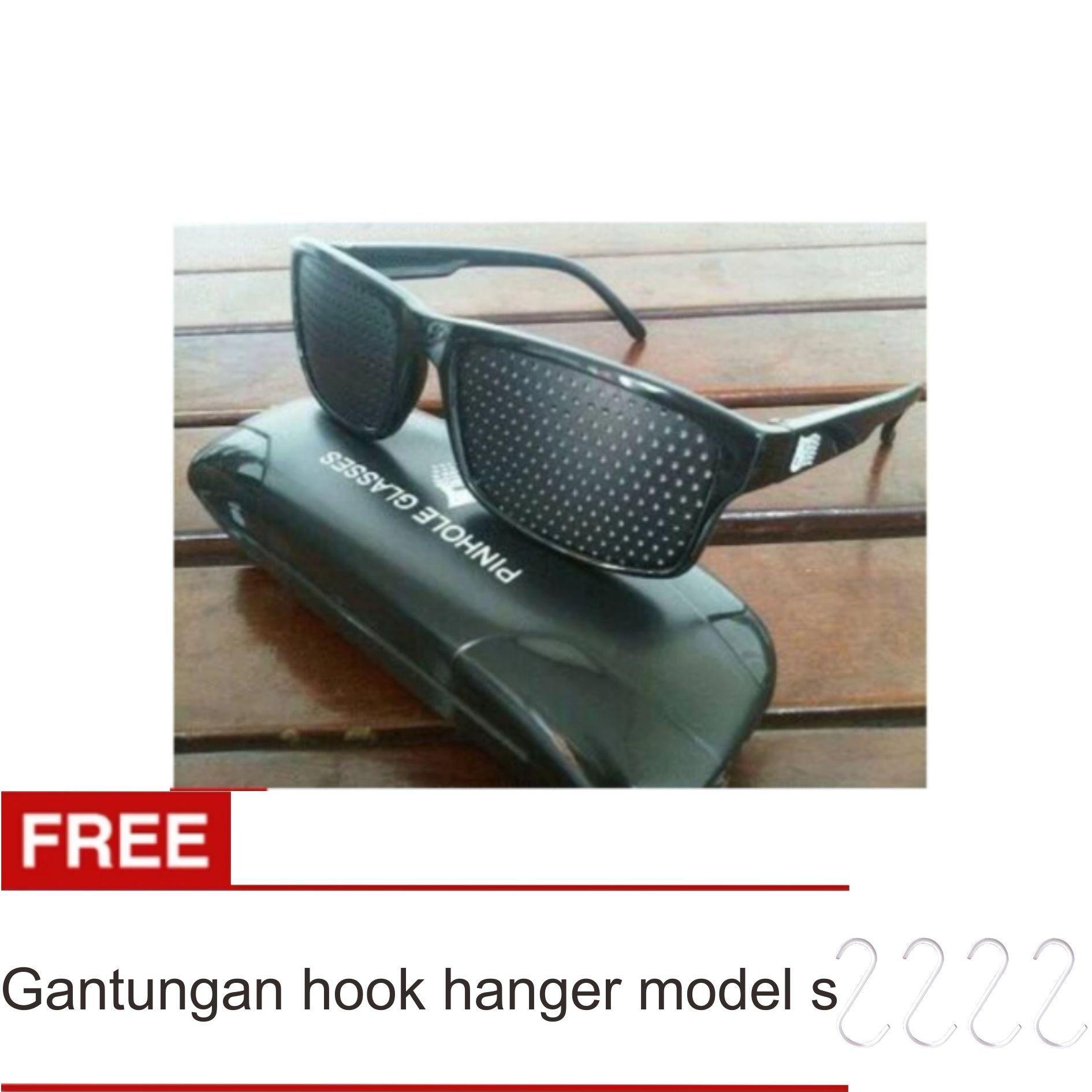 Lanjarjaya Kacamata Terapi Pinhole glasses tipe Tp-01 (bonus box) + Gantungan Hook Hanger Model S Set
