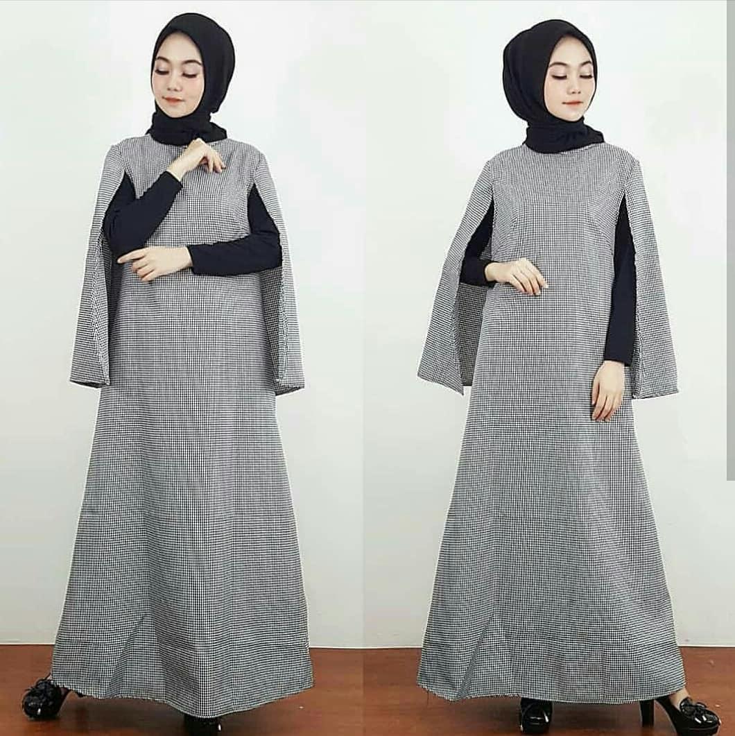 Fashion Muslim Gamis Helena Cape Katun No Iner / Baju Muslim Wanita Syari / Gaun Muslimah