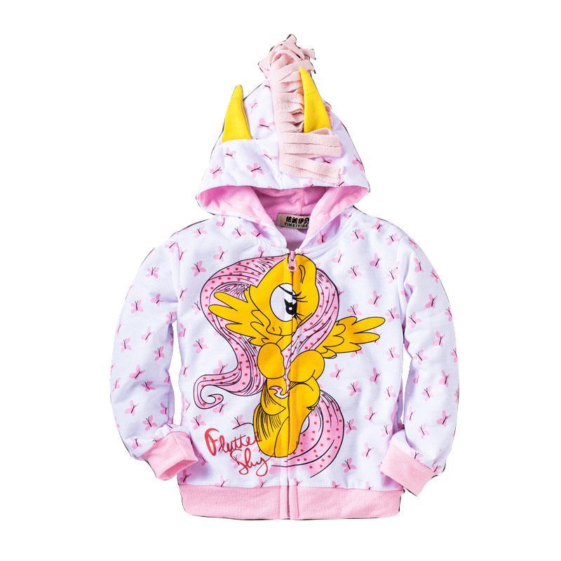 New Children Coat Zip Jacket Outwear My Little Pony Wing Sweater Cute Kids Sweatshirt Girls Boys Hoodie -Blue/Pink/Purple/White