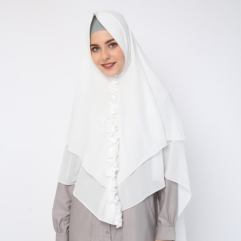 Premium Jilbab Syari Tanpa Pet Model Khimar Dhea Free Bross Pita Kerudung Sasmirra By Yanakoi Hijab Warna Putih Tulang