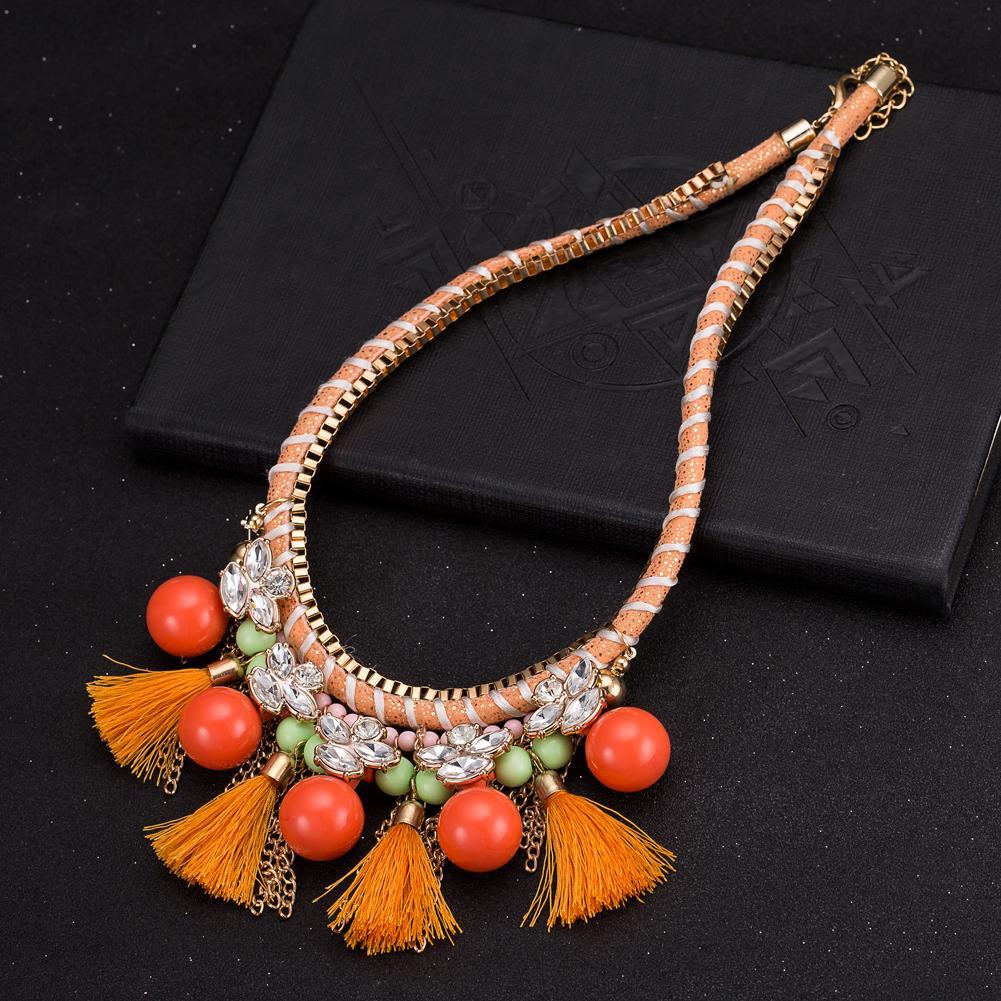 Jual panas berlebihan aksesoris merek fashion grosir resin kaca kristal kalung ekspor FSN292-C orange FSN292