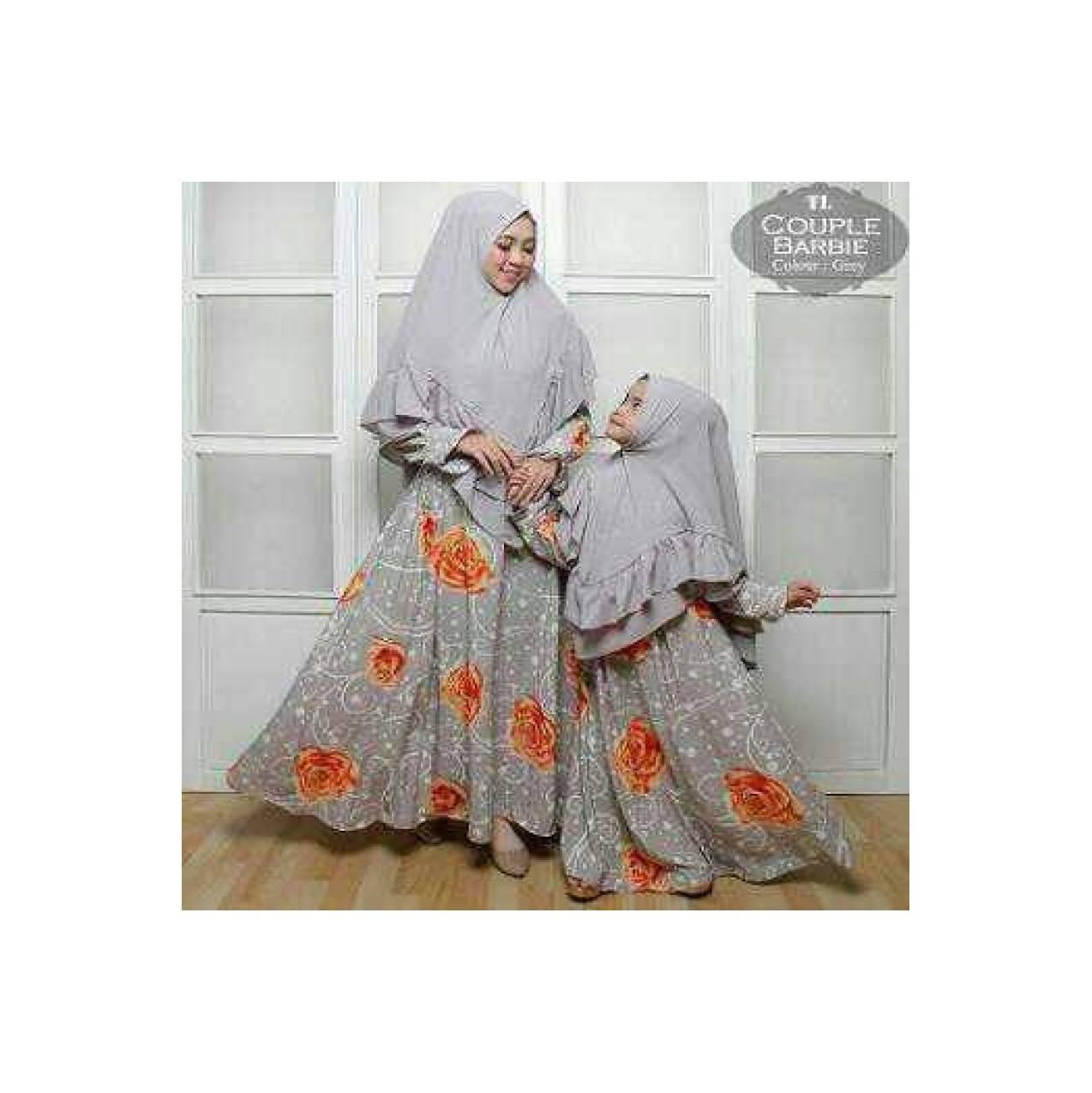 Couple Gamis Syari Ibu & Anak Barbie Crep Motif Asli warna Abu