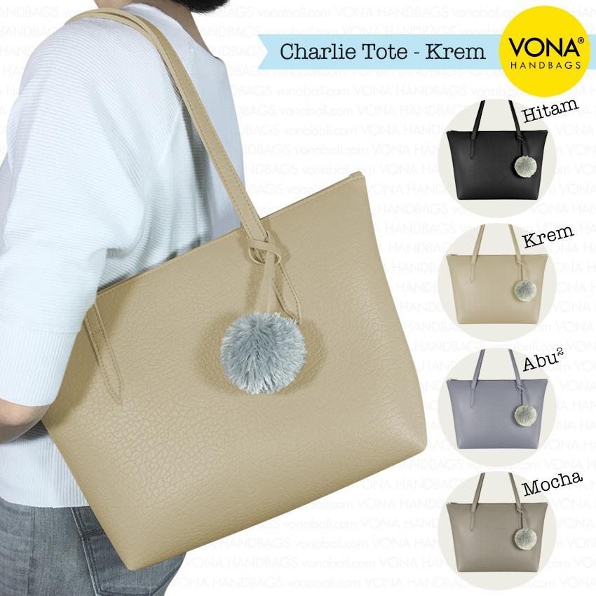 VONA Charlie - Tas Tote Bahu Pompom Bulu Shoulder Bag Wanita Tangan Sekolah  Kerja Belanja Ladies c9f0f2ec7f