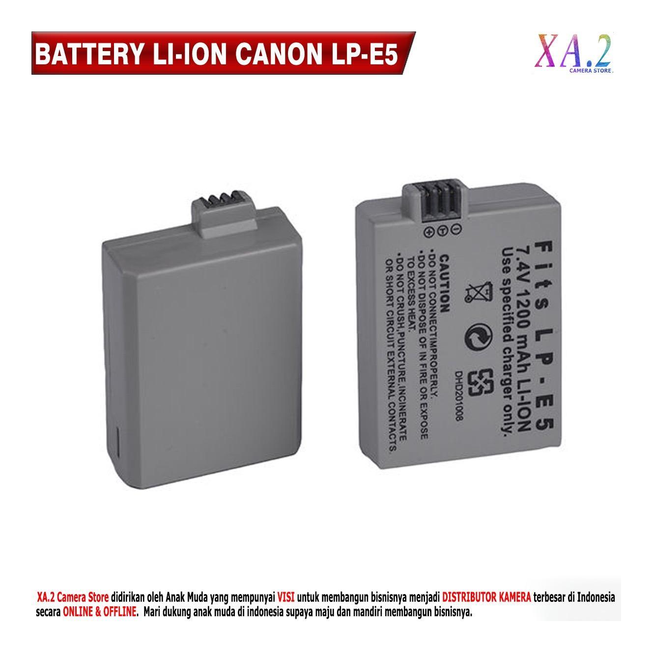 Baterai Pengganti Canon LP-E5 1200 MAh EOS 1000D - 450D - 500D - Kiss F - Kiss X2 - Kiss X3 - Rebel T1i - Rebel XS - Rebel XSi