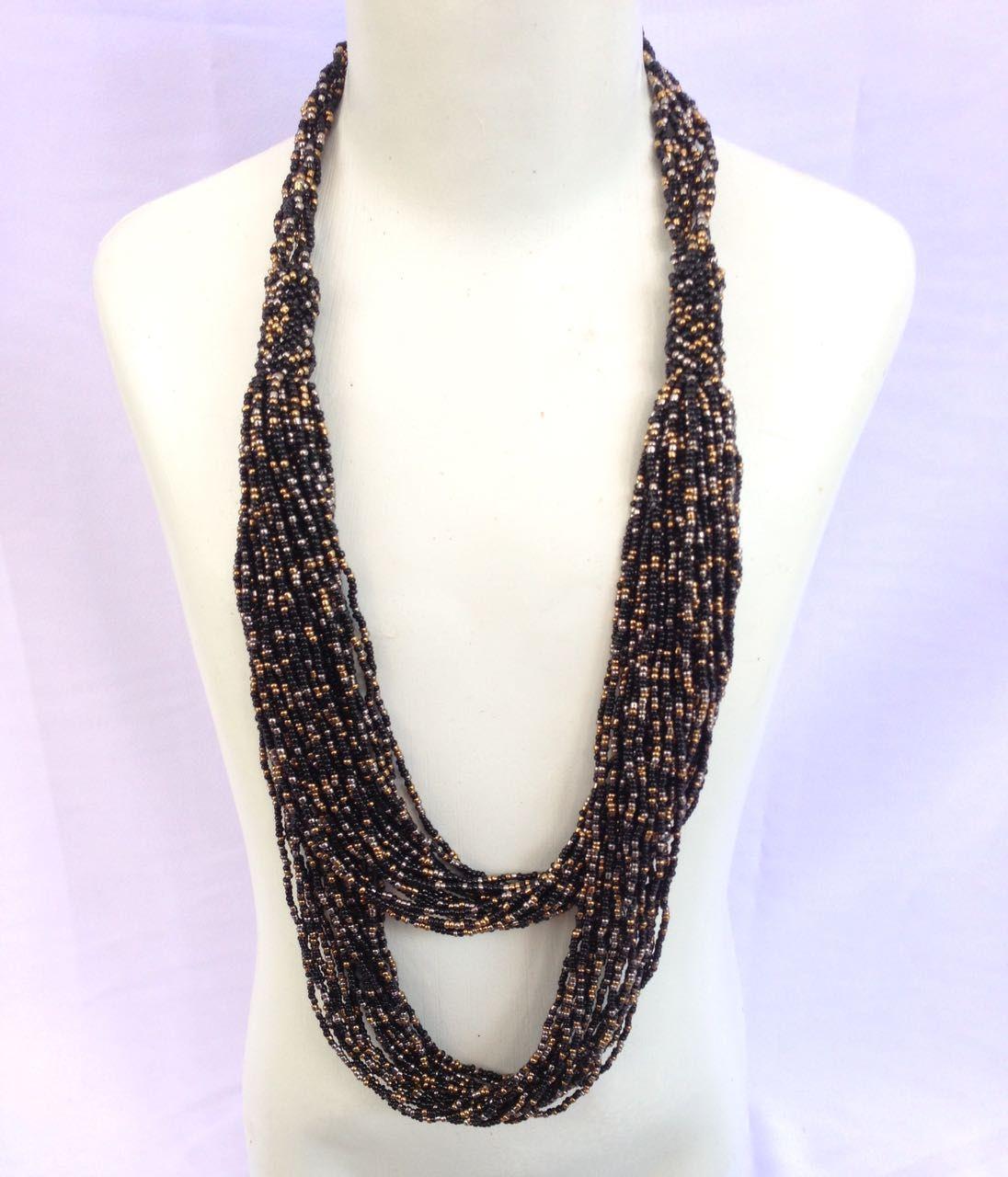 Kalung manik-manik fashion wanita etnik dua susun