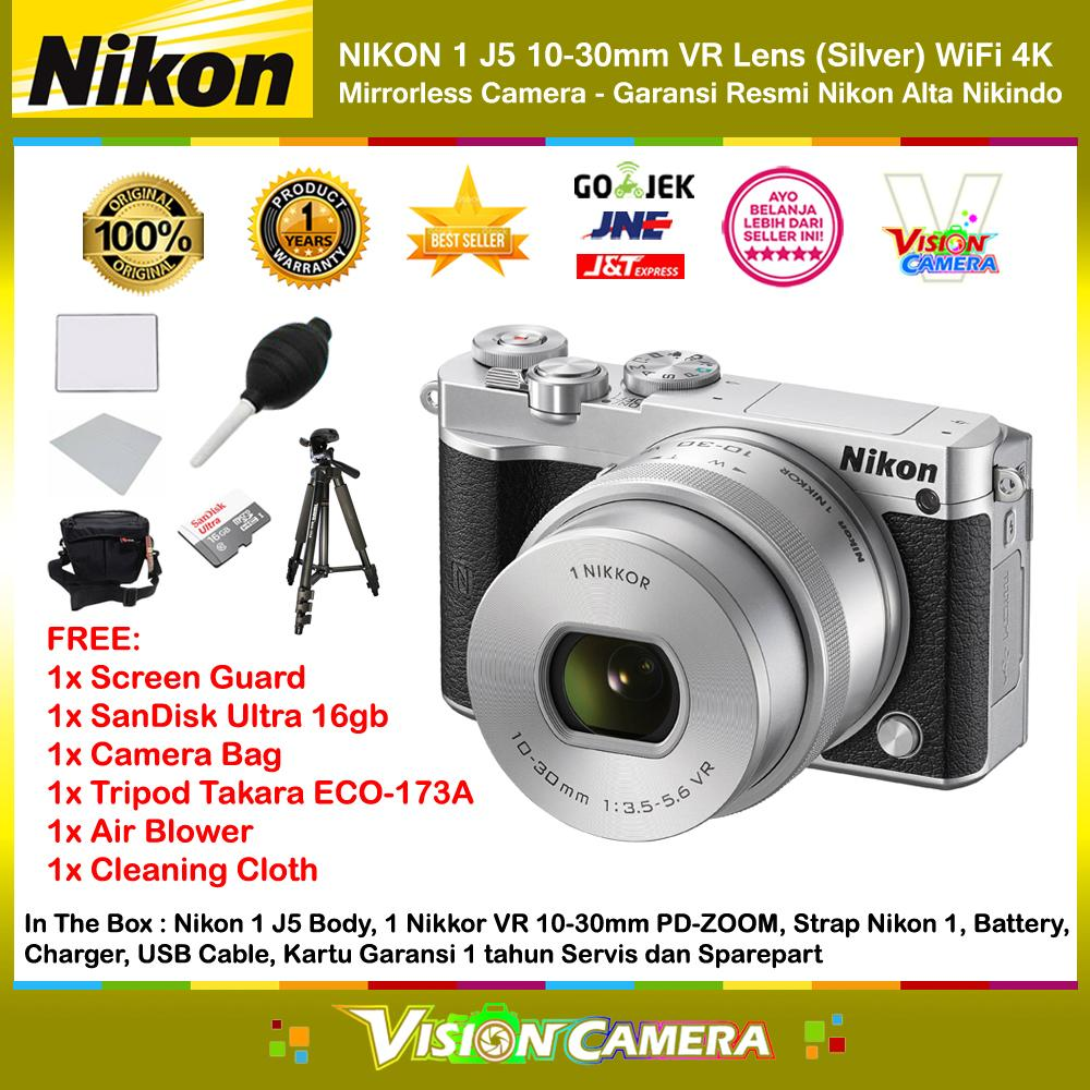 NIKON 1 J5 10-30mm VR Lens Silver WiFi 4K Mirrorless Camera Garansi Resmi 1th + Screen Guard + MicroSD SanDisk Ultra 16gb + Air Blower + Cloth + Camera Bag + Tripod Takara ECO-173A