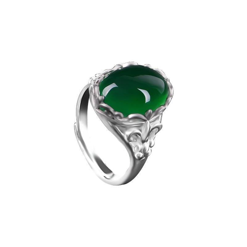 [Kualitas Tinggi-Pengiriman Cepat] Hijau Onyx Cincin Kristal Zamrud Emerald Vintage Mosaik Chalcedony Indeks Jari Pembukaan Adjustable Cincin Wanita- internasional
