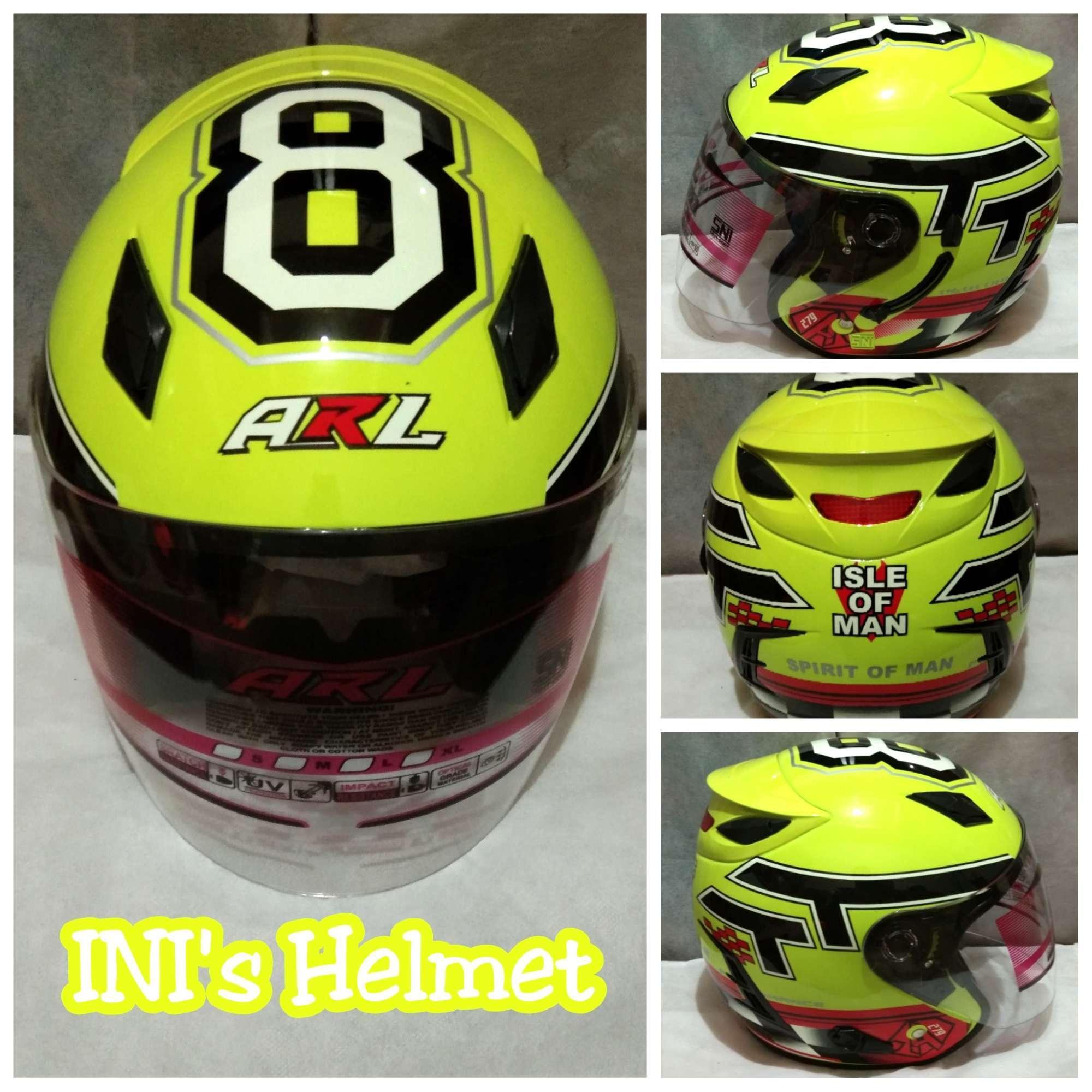 Helm ARL Centro Double Visor 2 Kaca Motif Kuning Stabilo 8 TT - SNI - INIs Mart Jakarta
