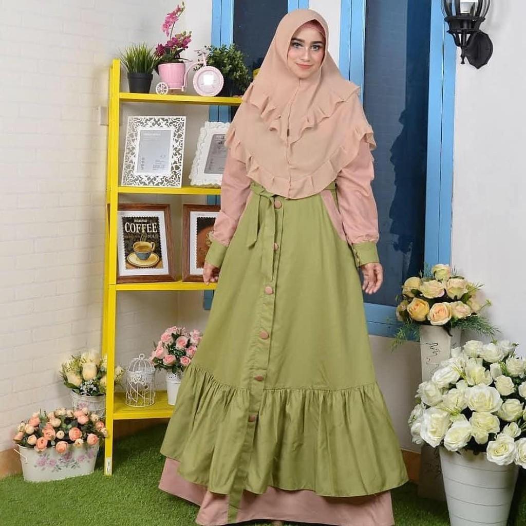 (TERBARU) Gamis Marisa Dress (Mocca Blue)