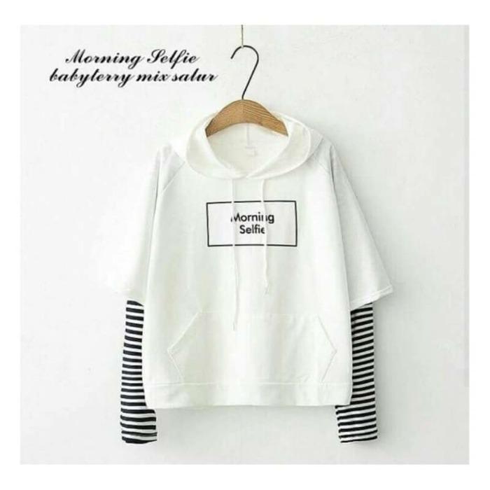 KEI'S jaket sweater wanita MORNING SELFIE WHITE fashion wanita terbaru