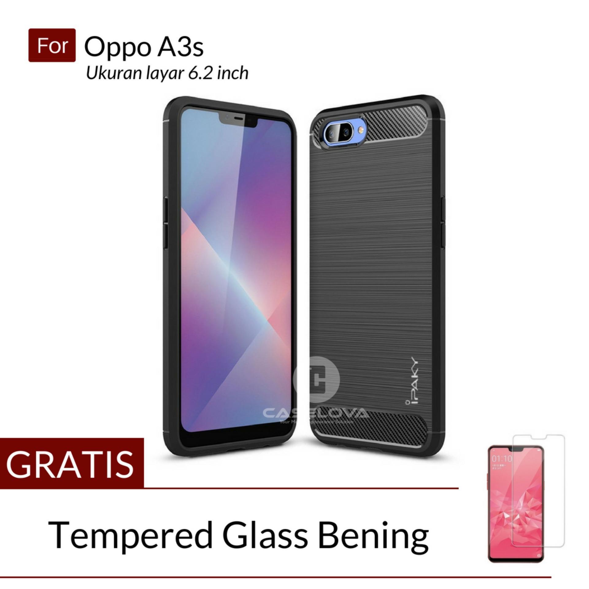 Caselova Premium Quality Carbon Shockproof Hybrid Case for Oppo A37 / A37f / Neo 9 ( sama ukuran ) - Black + Gratis Tempered GlassIDR27550. Rp 27.550