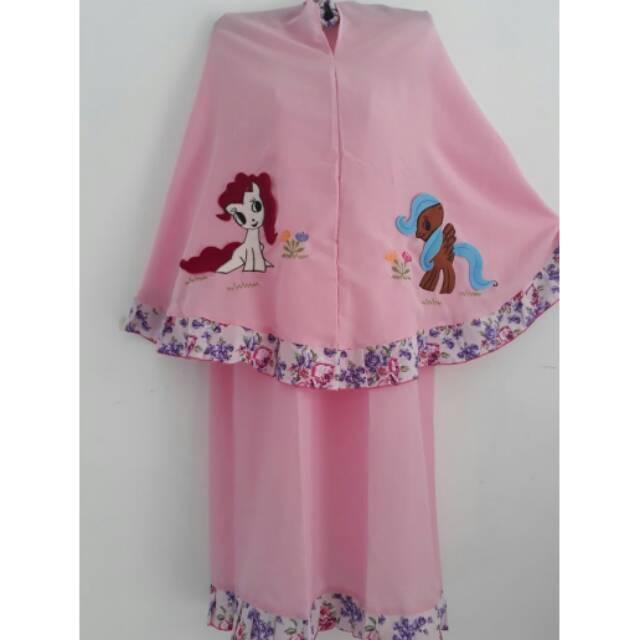 resstok mukena anak karakter kuda poni, masya, dll (pink,hijau,putih