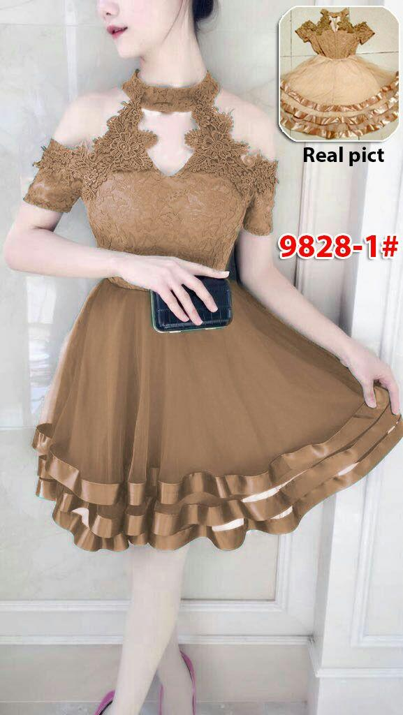 9828-1# dress mekar / dress chibie / dress import / dress pesta / gaun fashon import