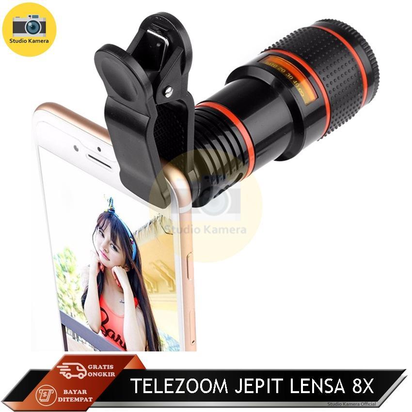 Studio Kamera - Telezoom Jepit Lensa 8x / Model Telescope Tele Zoom Universal 8x Zoom /
