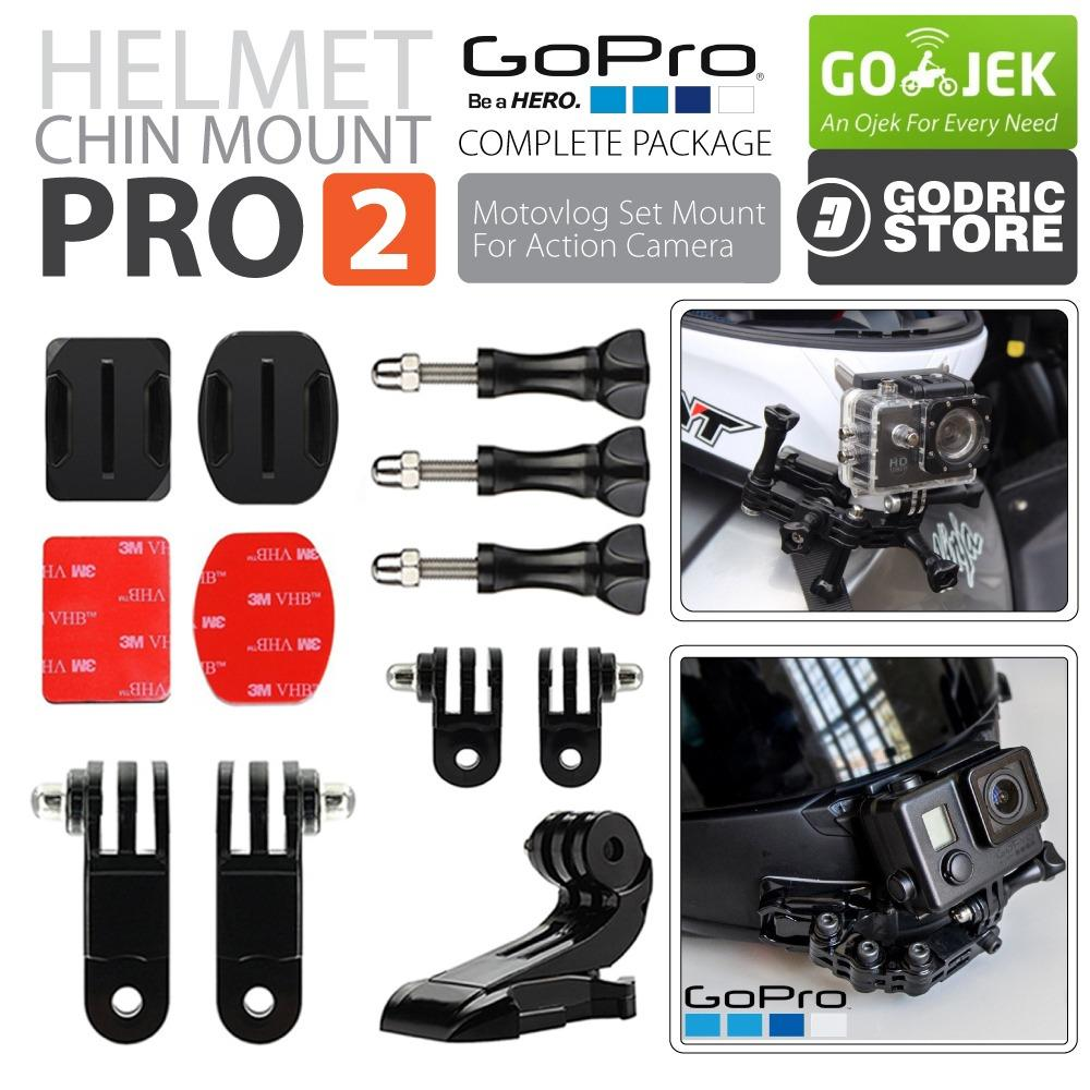 Helmet Chin Mount Set PRO2 Helm Bike Motovlog for Action Camera GoPro / Xiaomi Yi / BRICA / KOGAN e